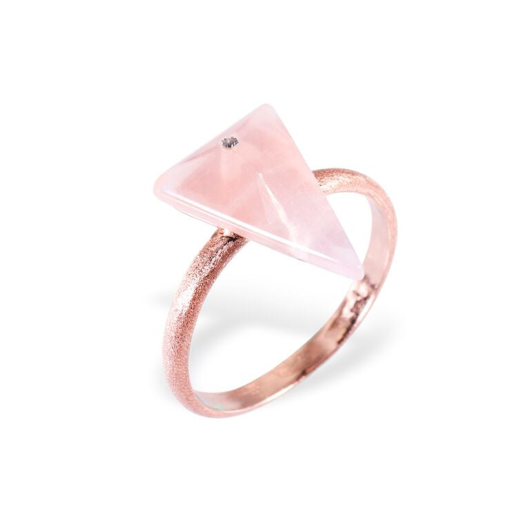 Mantra Triangle Ring with Swarovski Crystal and Rose Quartz