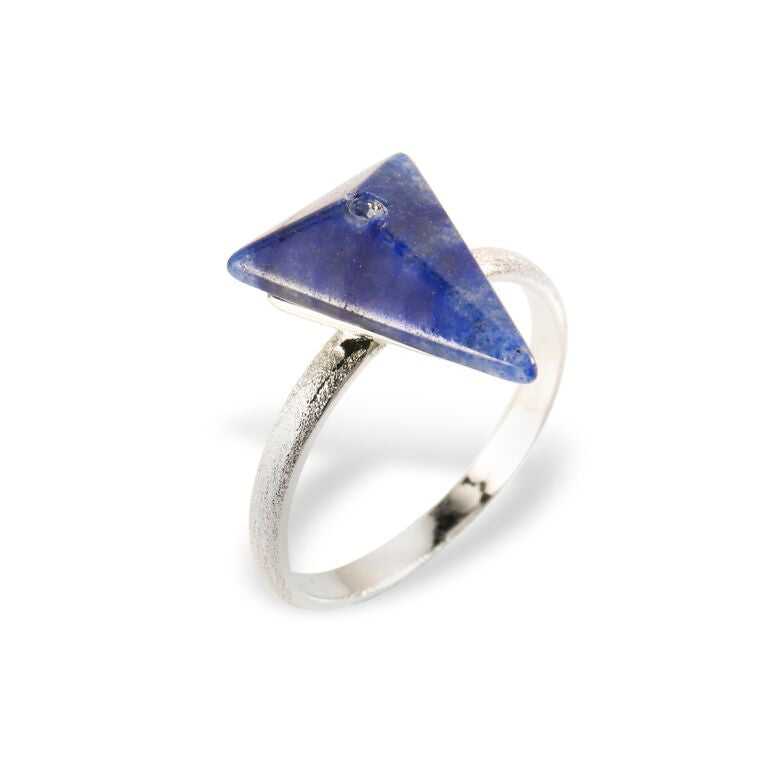 Mantra Triangle Ring with Swarovski Crystal and Blue Quartz