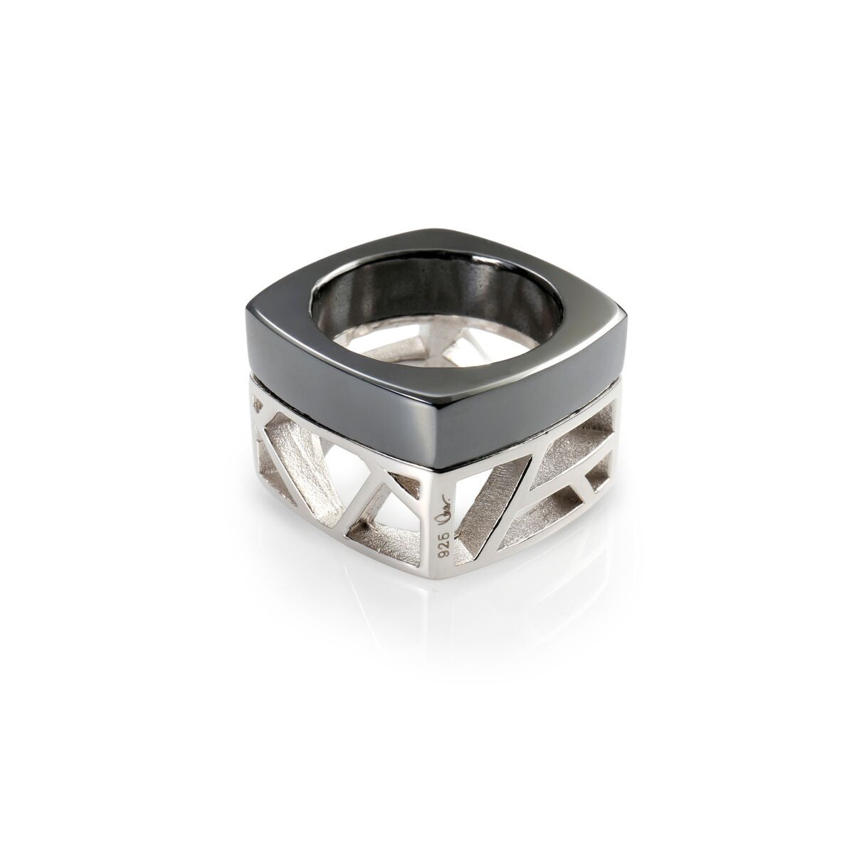 Lattice Unisex Square Ring - Hematite