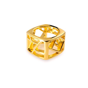 Lattice Unisex Square Ring - gold