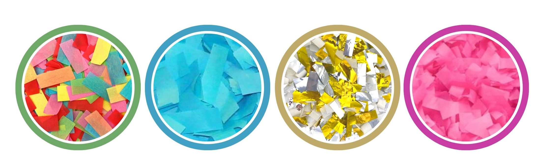 types and colors of confetti for confetti poppers