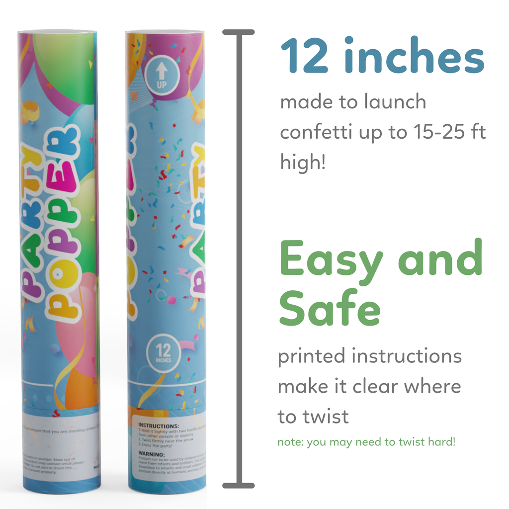 Dimensions for Biodegradable Confetti Poppers Birthday
