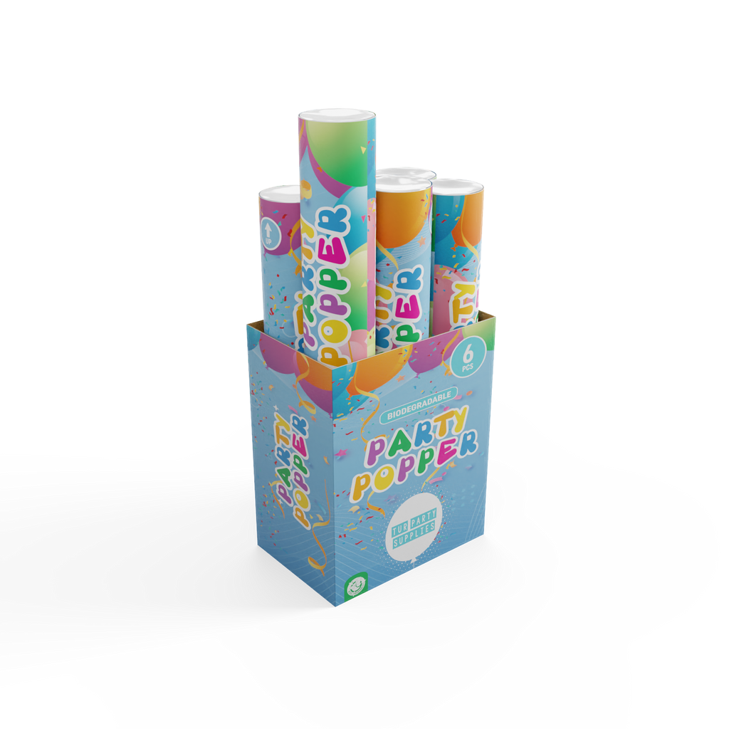 Biodegradable Confetti Poppers for all your Parties 6 Pack