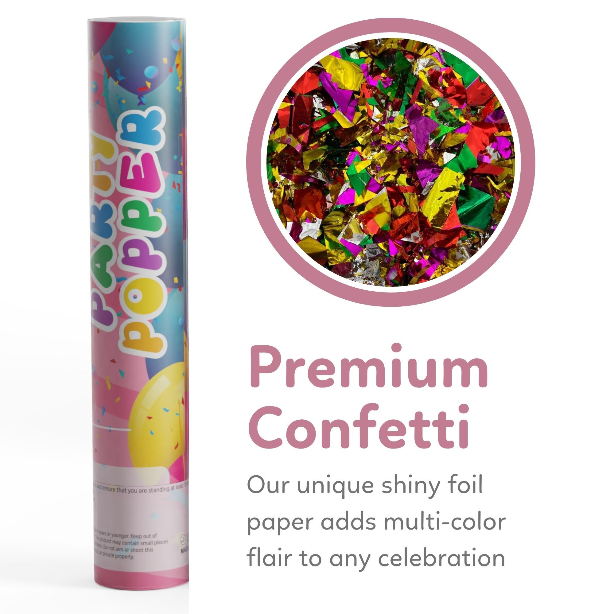 confetti cannon with premium multicolor metallic confetti