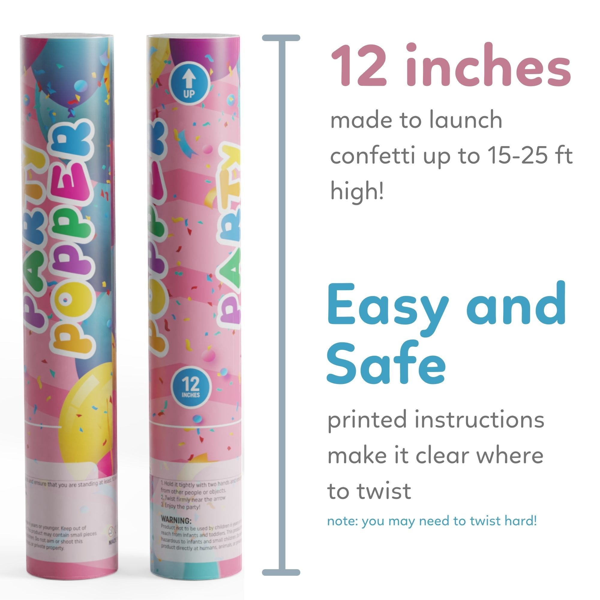 12 inch easy to use confetti cannons