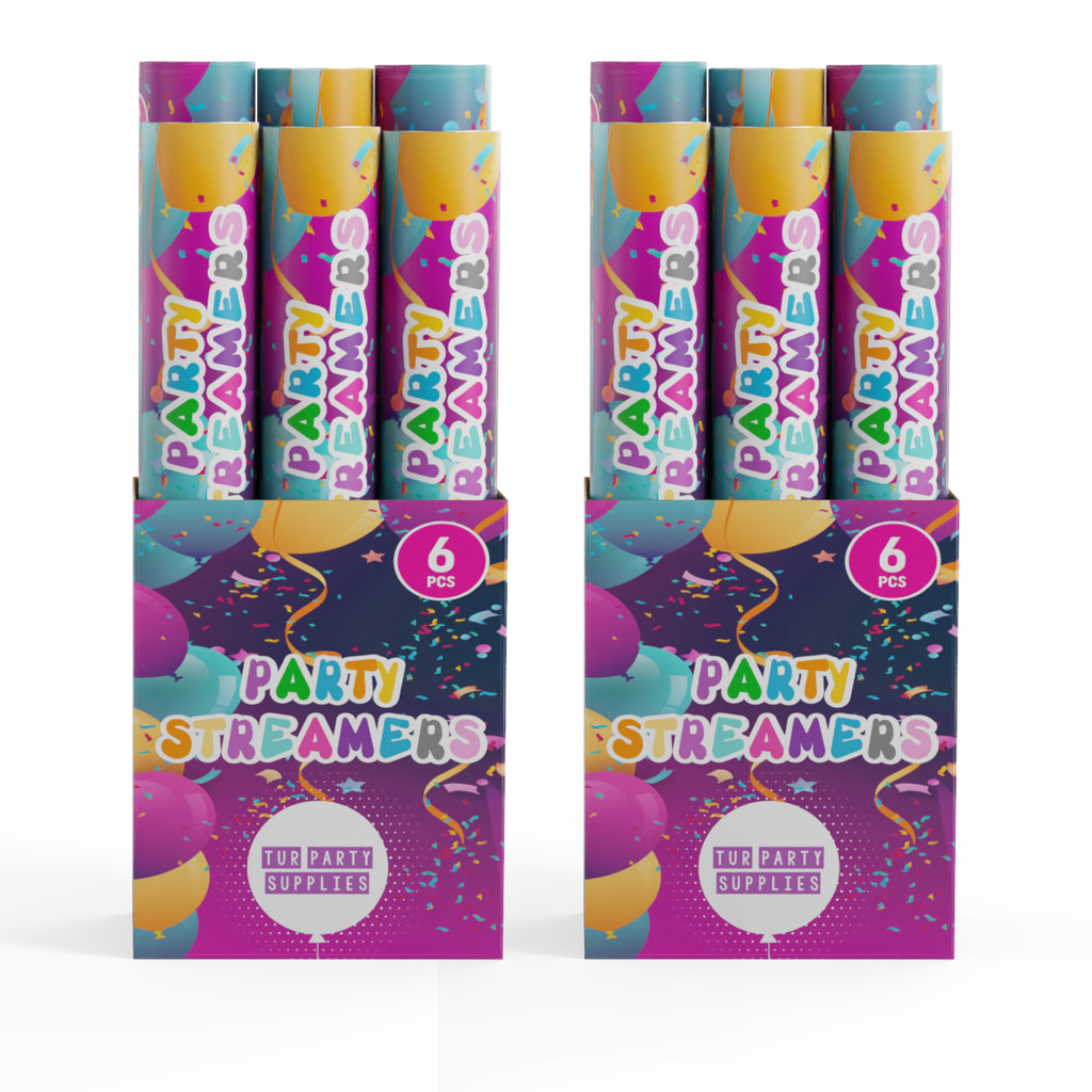 Confetti Cannons - Streamer Confetti Cannon TUR Party Supplies 12 Pack (4.99/pc)