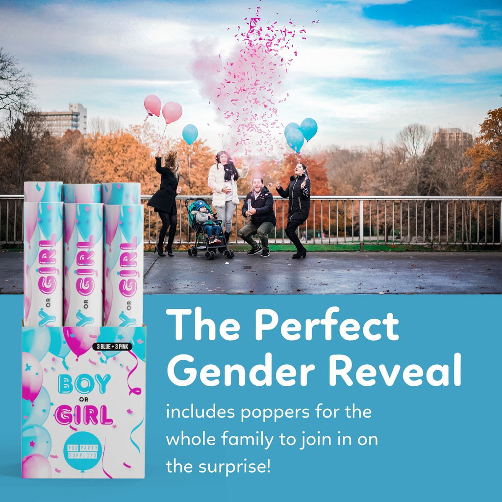 Gender Reveal Poppers with Confetti and Powder for the Perfect Gender Reveal 6 pack