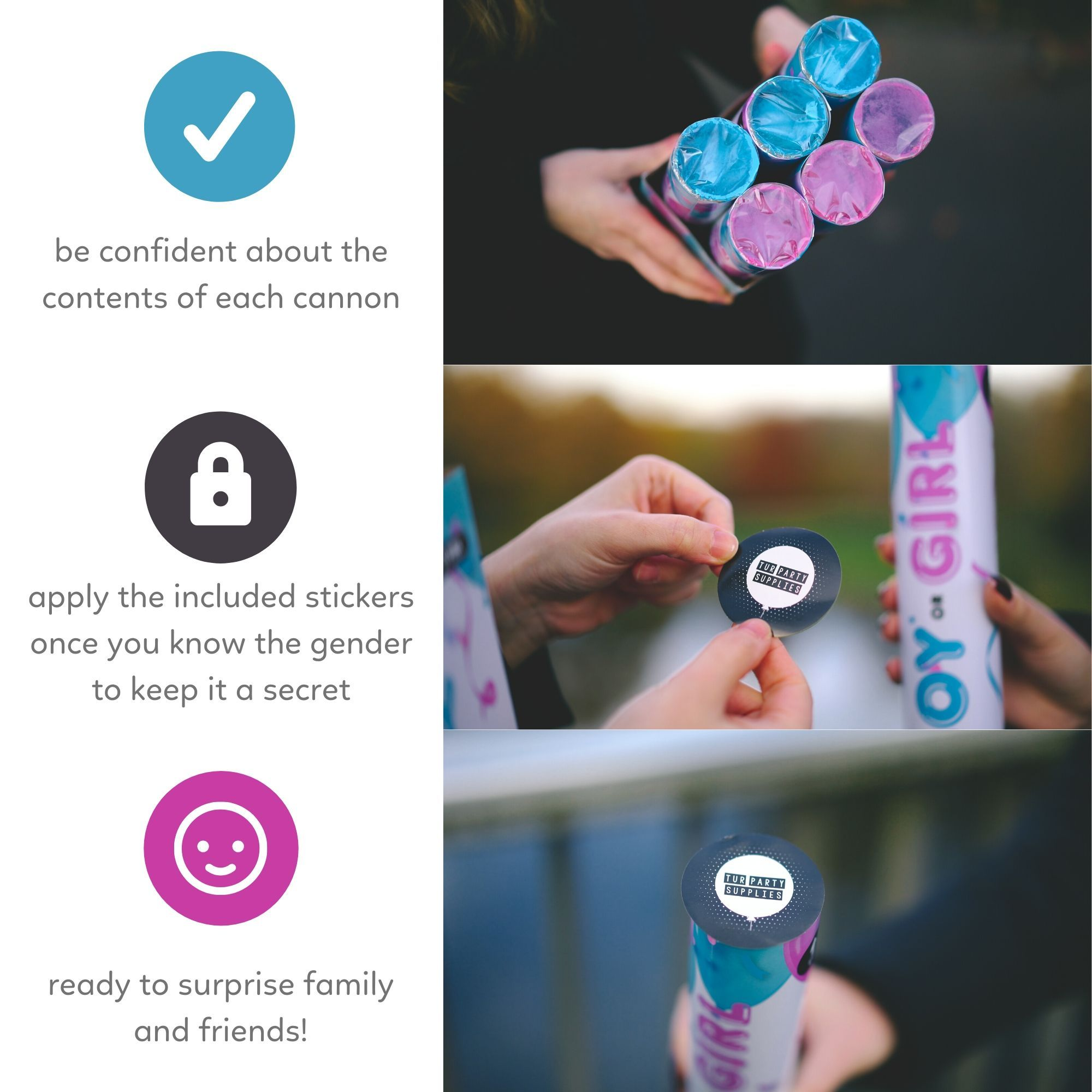 Instructions for Gender Reveal Poppers with Confetti and Powder for an exciting reveal 6 pack