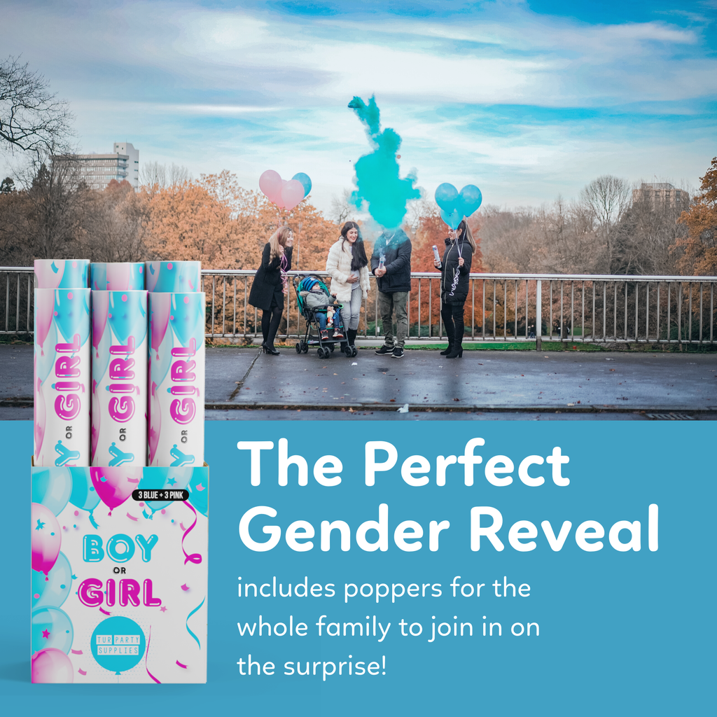 Gender Reveal Poppers with Powder for the Perfect Gender Reveal 6 pack