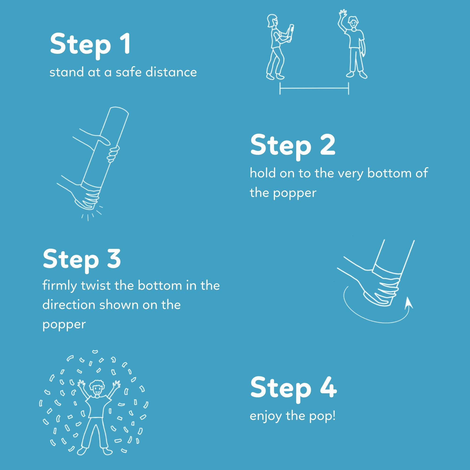 Instructions for Gender Reveal Poppers with powder for an exciting reveal 6 pack