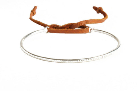 Thick Sterling Silver Ridge Bracelet with Brown Leather
