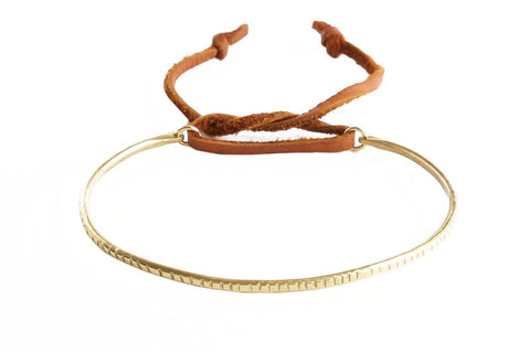 Thick Brass Ridge Bracelet with Brown Leather