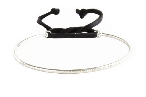 Thick Sterling Silver Ridge Bracelet with Black Leather