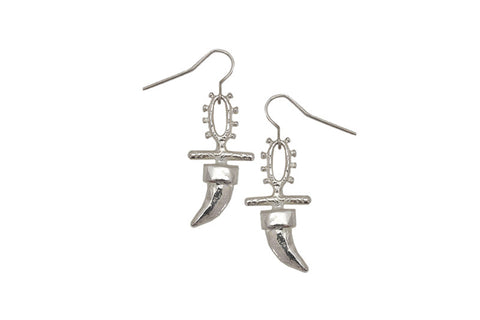 claw totem earring, silver