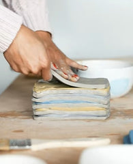 Nerikomi method: stacking different color clay slabs