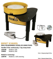 Brent - 22833M - Model 'IE' - 1/4 HP Potters Wheel with 12 Inch Wheelhead - 120v