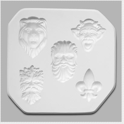 Mayco Sprig Mold - Gargoyles and Fleur-De-Lis Designs Sprig Mold - 5 Designs