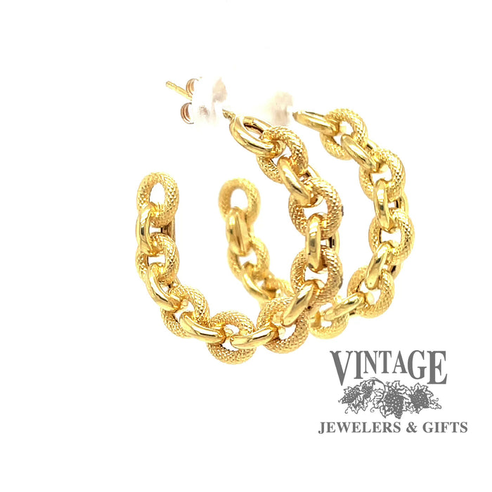 Revolving video of 14 karat yellow gold estate chain link post hoop earrings with friction backs