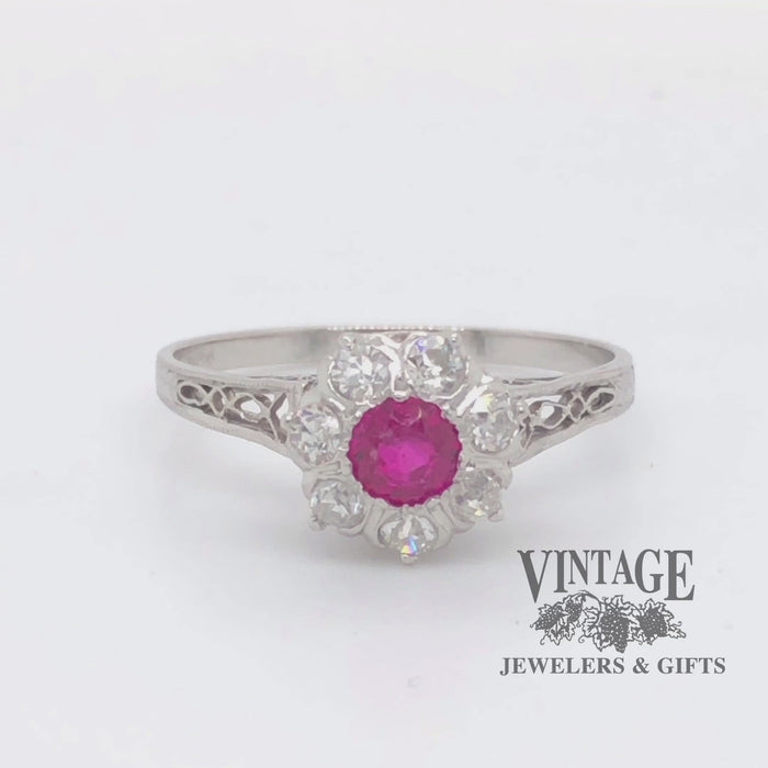 Revolving 360 degree video of  Vintage Platinum, Ruby and Diamond Filigree Ring