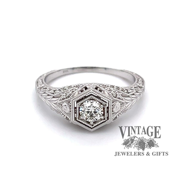 Revolving video of Edwardian inspired 14 karat white gold ring with .25ct diamond center