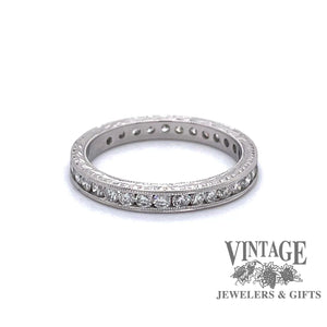 Platinum hand engraved diamond eternity band