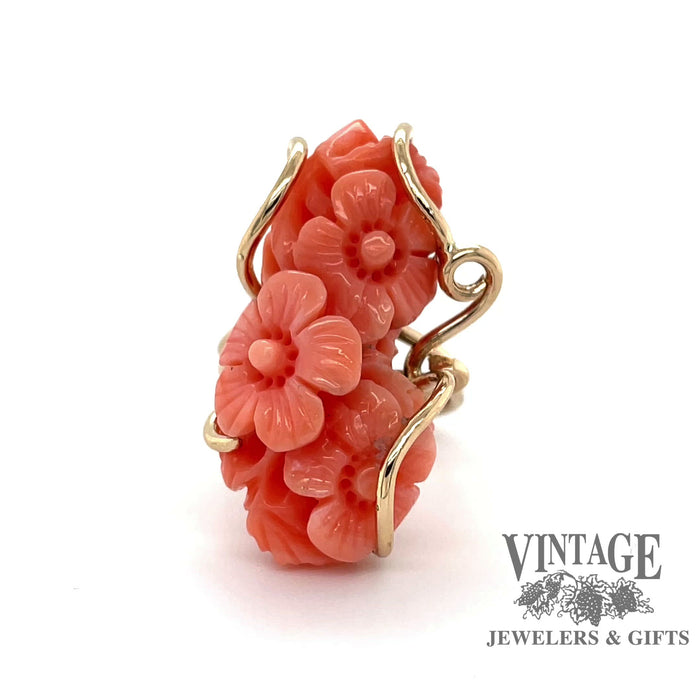 Revolving video of floral carved coral 14k gold wrap ring