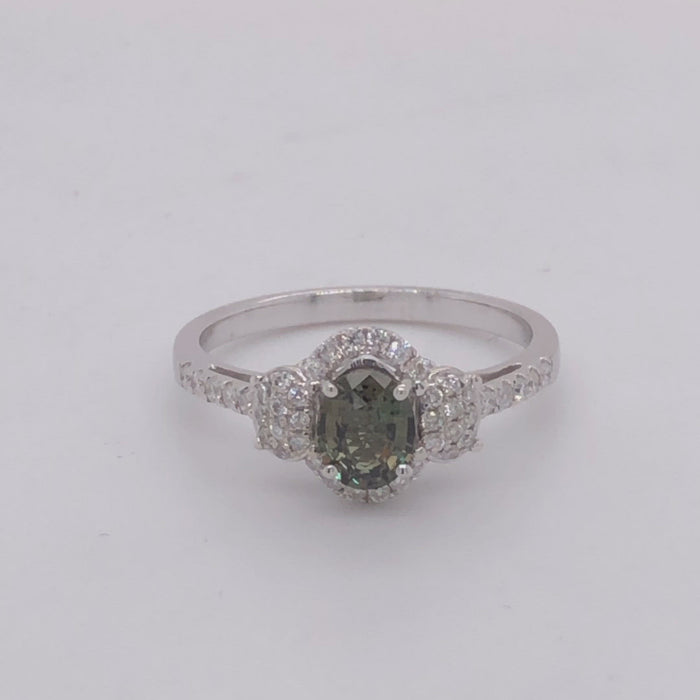 Revolving video of 14 karat white gold natural alexandrite diamond  ring.