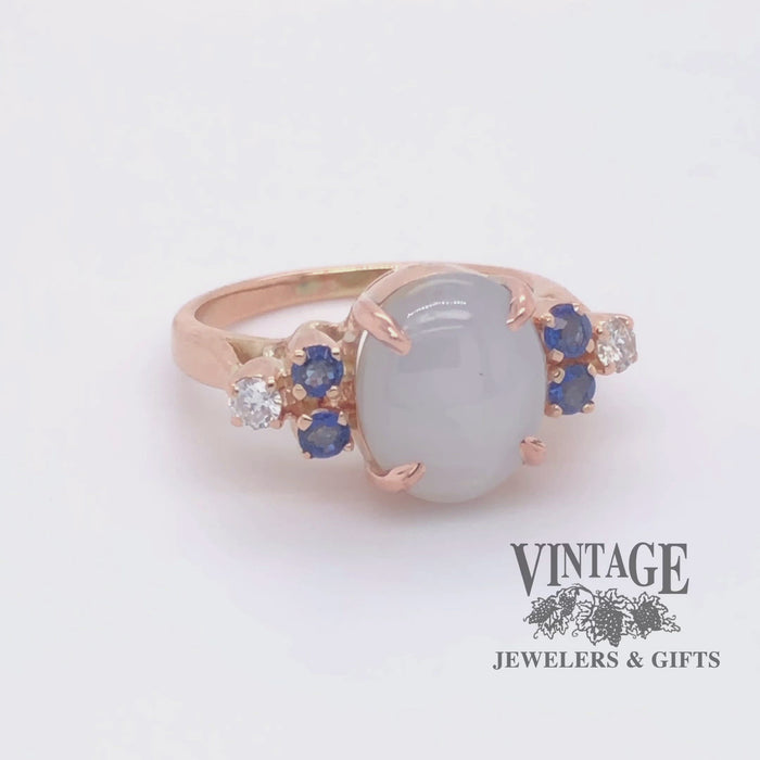 Revolving video of 14 karat rose gold white  star sapphire ring.