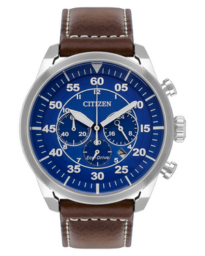 Men's stainless steel blue dial Eco Drive chronograph watch