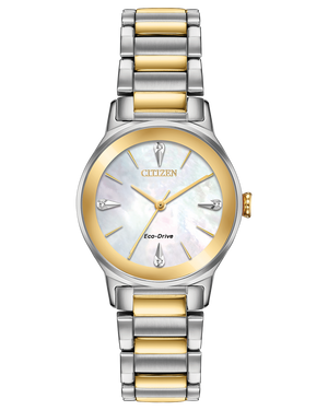 Ladies 2-tone Citizen mother-of-pearl/diamond dial bracelet Eco Drive watch