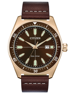 Men's Citizen rose gold tone brown dial Eco Drive watch with leather strap