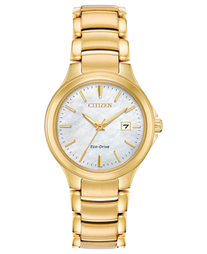 Ladies mother-of-pearl dial Eco-Drive gold tone wristwatch
