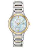 Ladies Citizen two tone stainless steel blue mother-of-pearl dial Eco Drive bracelet watch