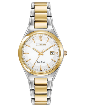 Ladies Citizen Eco-Drive two tone bracelet watch with date