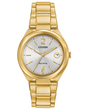 Ladies Citizen gold tone bracelet watch with date and silver tone dial