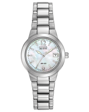 Ladies Mother-of-pearl dial stainless steel Citizen Eco Drive bracelet watch with date