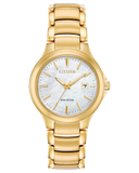 Ladies gold tone  Citizen mother-of-pearl dial with date Eco Drive bracelet  watch