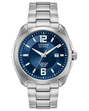 Men's Eco Drive stainless steel round wristwatch with date and blue dial