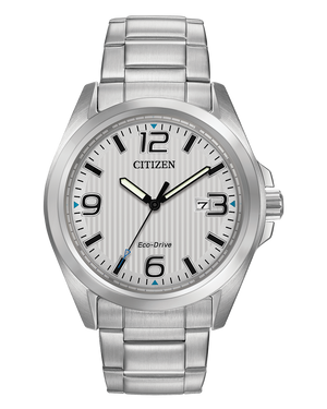Men's Citizen stainless steel Eco Drive wristwatch with silver tone dial