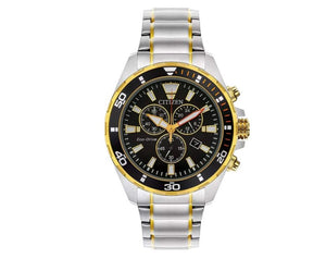 Men's Citizen Eco-Drive Chronograph Two-Tone Bracelet Black Dial Watch