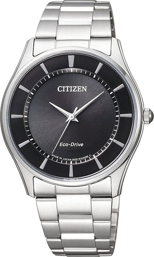 Men's stainless steel Eco Drive ultra thin case watch with round black dial