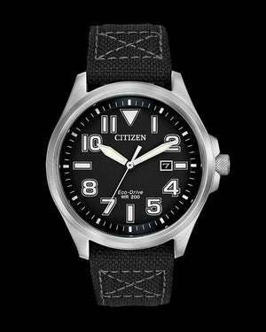 Citizen Eco-Drive black dial with large numerals military style watch