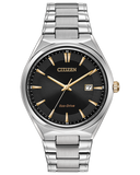 Men's Citizen stainless steel two tone Eco Drive bracelet  watch with black dial, date, gold hands and markers