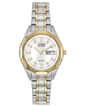 Ladies two tone stainless steel Eco Drive watch