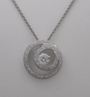 18k white gold, Hearts on Fire diamond swirl pendant, front view