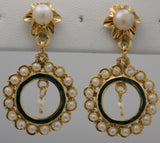 Yellow gold estate Art Nouveau pearl drop earrings with enameling.