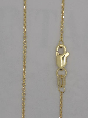"14k yellow gold 16"" .95 mm solid diamond cut cable chain with lobster clasp"