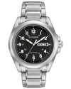 Men's Citizen stainless steel black dial bracelet Eco Drive watch with Arabic numbers