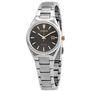 Ladies stainless steel grey dial Eco-Drive bracelet watch with gold markers