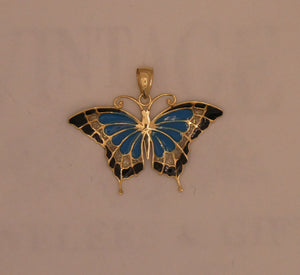 14 karat yellow gold enameled butterfly pendant.